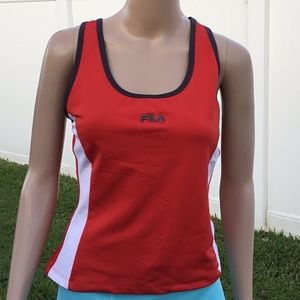 FILA Women's Sleveless Red and White Athletic Top
